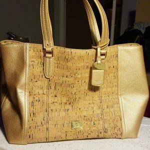 Lauren Ralph Lauren cork and faux leather tote bag